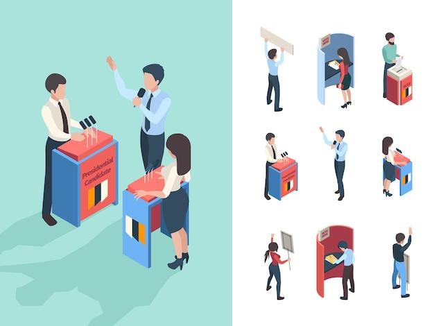 Политическое голосование. голосование людей и репортеры парламента Premium векторы