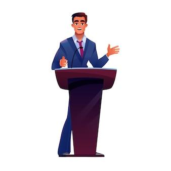 Политик на трибуне подиума говорит в микрофон