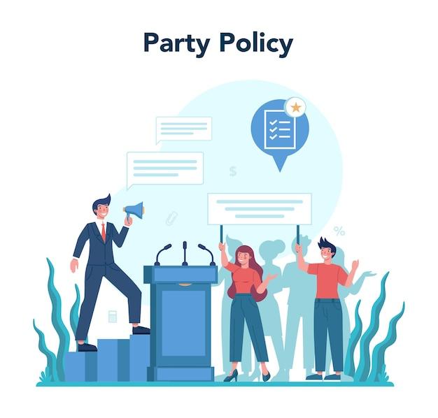 정치인 개념. 선거와 통치에 대한 아이디어. 민주적 거버넌스. 파티 정책. 격리 된 평면 그림