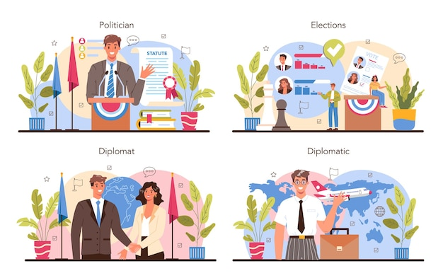 Politician concept set. election and democratic governance. political party program building. diplomat profession. country worldwide representation. flat vector illustration