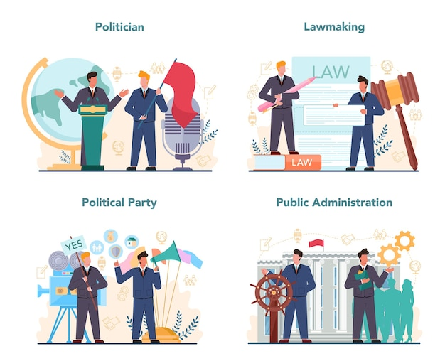 Politician concept set. idea of election and governement. democratic governance.