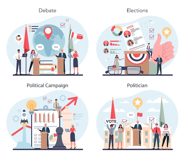 Politician concept set. idea of election and governement.