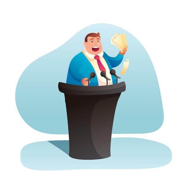 Политик дает иллюстрацию речи. толстый бизнесмен, выступающий на трибуне, мультипликационный персонаж оратора. избирательная кампания, кандидат стоит на трибуне клипарт