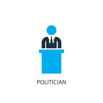 Значок политика. иллюстрация элемента логотипа. дизайн символа политика из 2-х цветной коллекции. концепция простой политик. может использоваться в интернете и на мобильных устройствах.