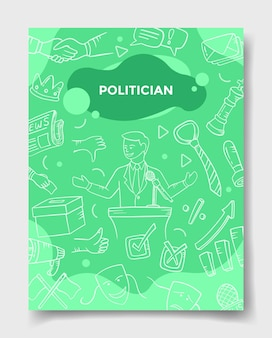 Politician jobs career profession with doodle style for template of banners, flyer, books, and magazine cover