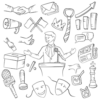 Politician jobs or profession doodle hand drawn set collections with outline black and white style