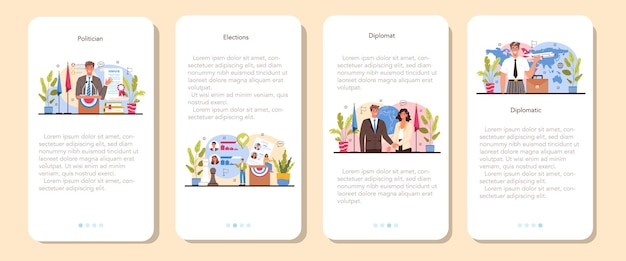 Politician mobile application banner set. election and democratic governance. political party program building. diplomat profession. country worldwide representation. flat vector illustration