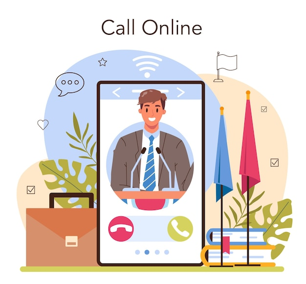 Politician online service or platform. election and democratic governance. country worldwide representation. online call. flat vector illustration