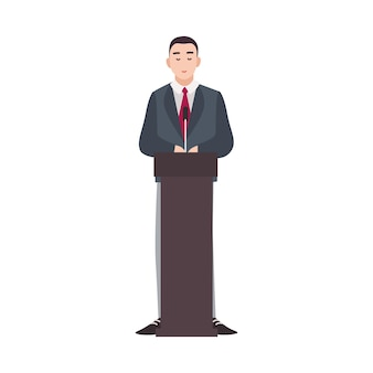Politician standing on rostrum and making public speech