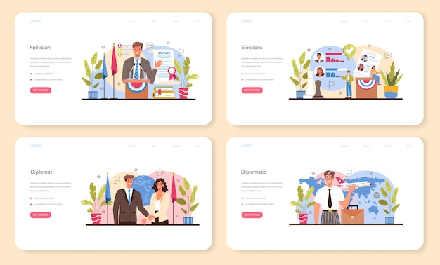 Politician web banner or landing page set. election and democratic governance. political party program building. diplomat profession. country worldwide representation. flat vector illustration
