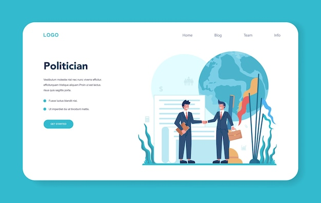 Politician web banner or landing page