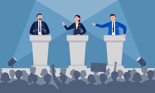 政治家が舞台で話し合っている