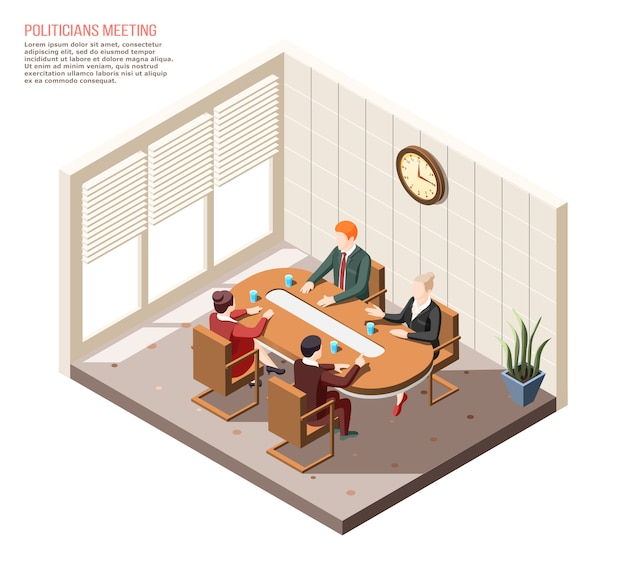 Politicians during conversation at meeting in conference room isometric composition