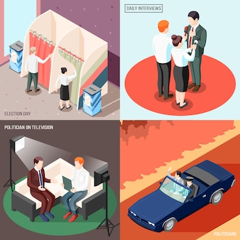 Politicians during television program and interview voters at election day isometric concept isolated