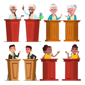 Politicians, speakers, tutors cartoon characters set