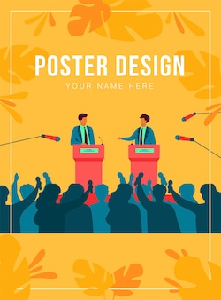 Politicians talking or having debates in front of audience flat  illustration. cartoon male public speakers standing on rostrum and arguing. politics, government and controversy concept