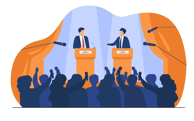 Politicians talking or having debates in front of audience flat vector illustration. cartoon male public speakers standing on rostrum and arguing.