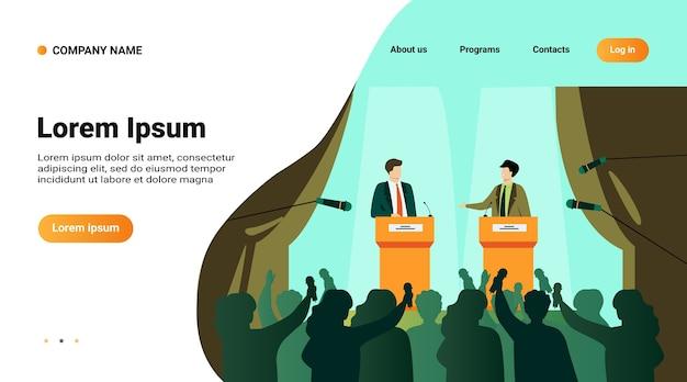 Политики говорят или проводят дебаты перед плоской векторной иллюстрацией аудитории. мультяшные мужские публичные ораторы, стоящие на трибуне и спорящие