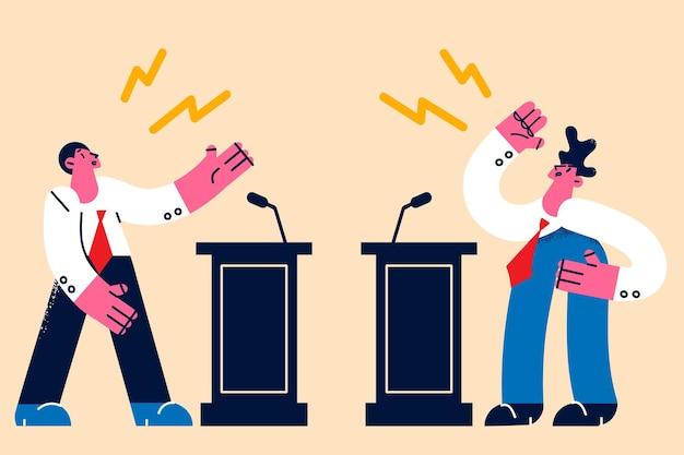 Politics debates and public fighting concept
