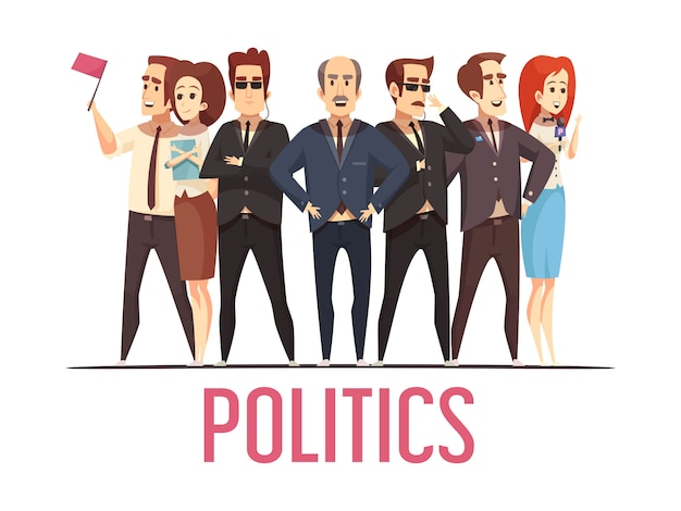 Politics election people cartoon scene