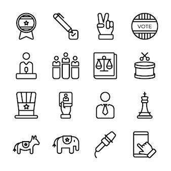 Politics line icons pack