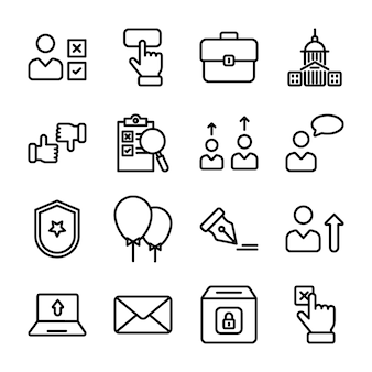 Politics line vectors pack