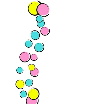 Polka dot background with comic pop art confetti. big colored spots, spirals and circles on white. vector illustration. vibrant childish splash for birthday party. rainbow polka dot background.