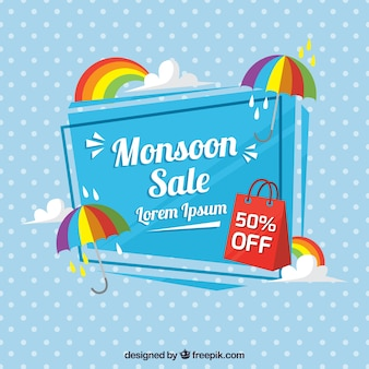Polka dot background with monsoon sale umbrella