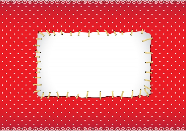 Polka dot frame with stitched patch