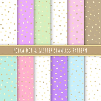 Polka dot and glitter seamless pattern collection in pastel