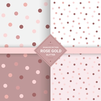 Polka dot glitter seamless pattern in rose gold color.