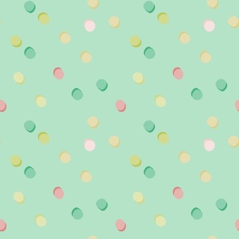 Polka dot random seamless pattern. pink, green, yellow and white circles on light blue background.