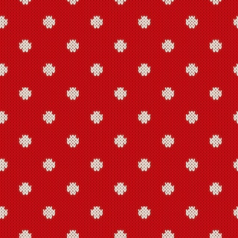 Polka dot seamless knitted pattern. winter holiday knitting sweater design