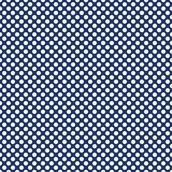 水玉模様のシームレスパターン。青い背景の上の白い円。格子縞、テーブルクロス、衣服、シャツ、ドレス、紙、寝具、毛布、その他の繊維製品のテクスチャ。ベクトルイラスト。