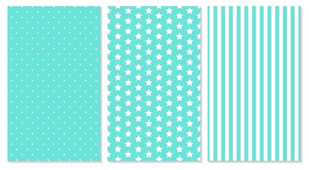 폴카 도트, 줄무늬, 별 패턴 세트