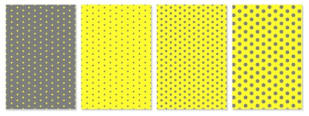 Polka dots cover set. yellow and gray colors abstract cover design. trendy geometric posters.