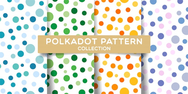 Polka dots seamless pattern set collection.