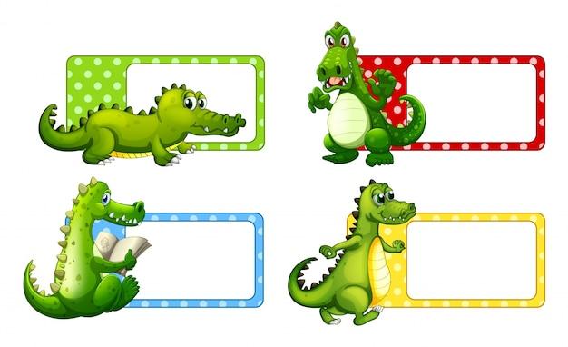 Polkadot labels with crocodiles
