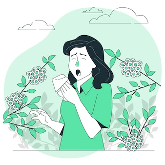 Иллюстрация концепции аллергии на пыльцу