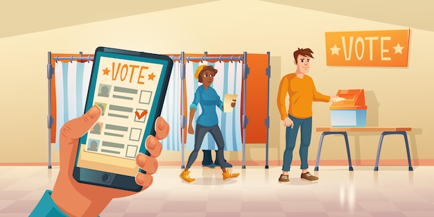 Polling place and mobile app for vote at election day