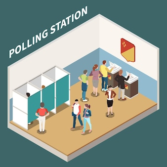 Polling station isometric illustration with voting booth and electorate participating in voting process