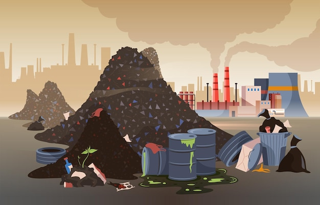 Polluted city area with mountains of rubbish toxic waste and working factories flat illustration