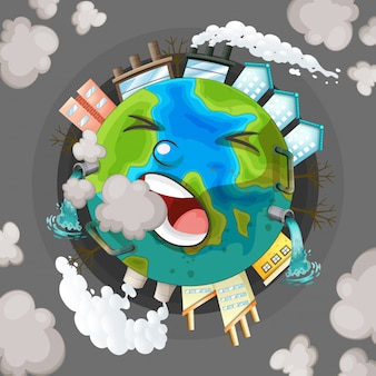A polluted earth icon