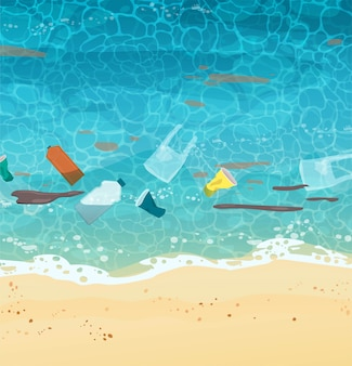 Polluted seashore with sand, garbage, bottles, paper cups, plastic bags, trash, top view. cartoon   illustration.