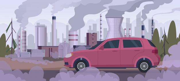 Polluter car. atmospheric pollution industrial factory automobile traffic engine smoke bad urban environment  background