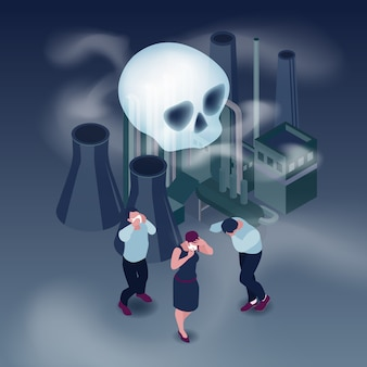 Pollution in city isometric concept with people and smoke isometric