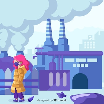 Pollution concept background flat design