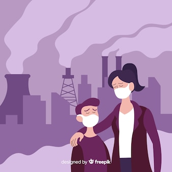 Pollution concept background flat style