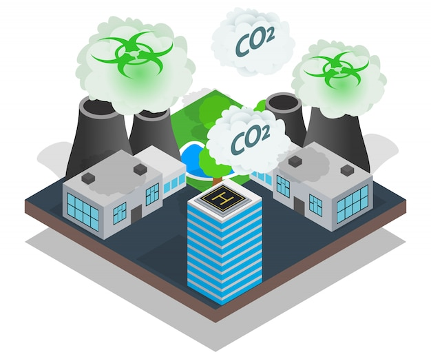Pollution concept banner, isometric style
