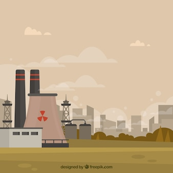 Pollution concept with nuclear plant